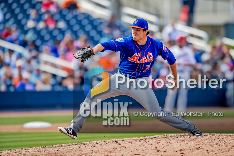 7 March 2019: New York Mets pitcher Ryan O'Rourke on the mound during a Spring Training Game against the Washington Nationals at the Ballpark of the Palm Beaches in West Palm Beach, Florida. The Nationals defeated the visiting Mets 6-4 in Grapefruit League, pre-season play. Mandatory Credit: Ed Wolfstein Photo *** RAW (NEF) Image File Available ***