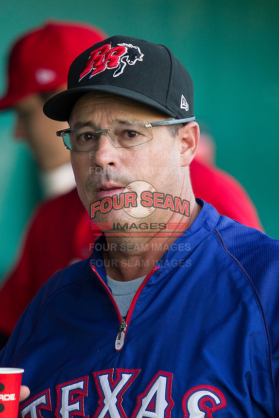 Texas Rangers roving minor league instructor Greg Maddum in the dugout with the AA Frisco Roughriders before the the Texas League baseball game against the San Antonio Missions on August 22, 2013 at the Nelson Wolff Stadium in San Antonio, Texas. Frisco defeated San Antonio 2-1. (Andrew Woolley/Four Seam Images)