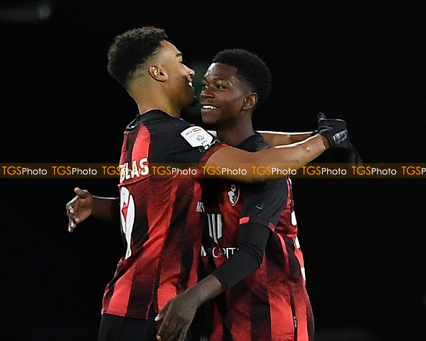 Ajani Burchall of AFC Bournemouth is congratulated by Junior Stanislas of AFC Bournemouth on making his first team debut at the age of sixteen(16)  during AFC Bournemouth vs Huddersfield Town, Sky Bet EFL Championship Football at the Vitality Stadium on 12th December 2020
