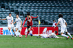 FC Seoul Midfielder Go Yo Han (c) trips up with Auckland City Midfielder Fabrizio Tavano (r) during the 2017 Lunar New Year Cup match between Auckland City FC (NZL) and FC Seoul ((KOR) on January 28, 2017 in Hong Kong, Hong Kong. Photo by Marcio Rodrigo Machado/Power Sport Images