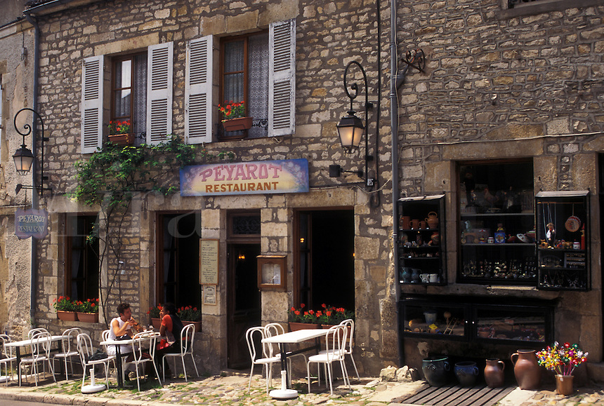 France, outdoor café, Vezelay, Burgundy, Yonne, wine region, Bourgogne, Europe, Outdoor café along the street in Vezelay in the wine region of Burgundy.