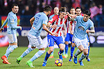 Filipe Luis of Atletico de Madrid fights for the ball with RC Celta de Vigo's players during their La Liga match between Atletico de Madrid and RC Celta de Vigo at the Vicente Calderón Stadium on 12 February 2017 in Madrid, Spain. Photo by Diego Gonzalez Souto / Power Sport Images