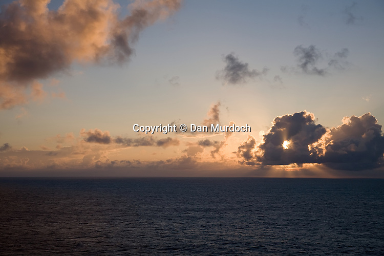Sunset from the deck of a cruise ship on the Atlantic Ocean.