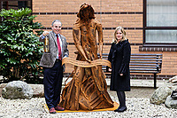 "Pictured: (L-R) Andrew davies ABMU Chairman and artist Sarah Tombs. Monday 05 February 2018<br /> Re: A sculpture has been unveiled at Welsh Centre for Burns and Plastic Surgery in Morriston Hospital to commemorate its links with Port Talbot steelworks in Wales, UK.<br /> It was inspired by Welsh mythology and created from Tata steel by artist Sarah Tombs.<br /> The sculpture is of the legendary Lady of Llyn y Fan Fach and was unveiled by Abertawe Bro Morgannwg health board to mark the 70th birthday of the NHS.<br /> According to the Mabinogion and The Red Book of Hergest, she was mother of the Physicians of Myddfai, who used magical powers to heal the sick and symbolises ""regeneration and healing""."