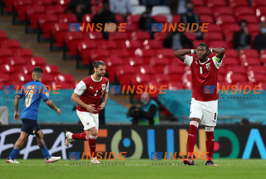 LONDON, ENGLAND - JUNE 26: David Alaba of Austria reacts after missing a chance during the UEFA Euro 2020 Championship Round of 16 match between Italy and Austria at Wembley Stadium at Wembley Stadium on June 26, 2021 in London, England. (Photo by Alex Morton - UEFA/UEFA via Getty Images)<br /> Photo Uefa/Insidefoto ITA ONLY