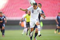 ZAPOPAN, MEXICO - MARCH 21: Sebastian Saucedo #10 of the United States heads the ball during a game between Dominican Republic and USMNT U-23 at Estadio Akron on March 21, 2021 in Zapopan, Mexico.