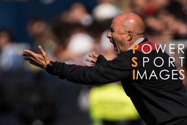 Coach Jorge Sampaoli of Sevilla FC reacts during their La Liga match between Deportivo Leganes and Sevilla FC at the Butarque Municipal Stadium on 15 October 2016 in Madrid, Spain. Photo by Diego Gonzalez Souto / Power Sport Images