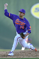 Photo of the Clemson Tigers in the Reedy River Rivalry game against the South Carolina Gamecocks on Saturday, March 3, 2018, at Fluor Field at the West End in Greenville, South Carolina. Clemson won, 5-1. (Tom Priddy/Four Seam Images)