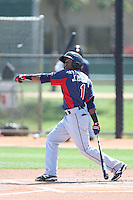 Joel Mejia #1 of the Cleveland Indians bats during a Minor League Spring Training Game against the Los Angeles Dodgers at the Los Angeles Dodgers Spring Training Complex on March 22, 2014 in Glendale, Arizona. (Larry Goren/Four Seam Images)