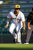 Bradenton Marauders first baseman Ernny Ordonez (14) during Game Two of the Low-A Southeast Championship Series against the Tampa Tarpons on September 22, 2021 at LECOM Park in Bradenton, Florida.  (Mike Janes/Four Seam Images)