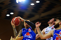 Saints' Leon Henry takes a rebound during the National Basketball League Final Four semifinal match between Wellington Saints and Auckland Huskies at Te Rauparaha Arena in Porirua, New Zealand on Thursday, 22 July 2021. Photo: Dave Lintott / lintottphoto.co.nz