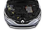 Car Stock 2020 Renault Captur E-Tech-First 5 Door SUV Engine  high angle detail view