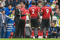 Jose Mourinho Manager of Manchester United speaks to his team in Frustrated manor during the Premier League match between Brighton and Hove Albion and Manchester United at the American Express Community Stadium, Brighton and Hove, England on 19 August 2018. Photo by Edward Thomas / PRiME Media Images.