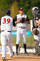 Starting pitcher Spencer Arroyo #20 of the Kannapolis Intimidators is taken out of the game against the Delmarva Shorebirds by manager Tommy Thompson #39 at Fieldcrest Cannon Stadium on May 22, 2011 in Kannapolis, North Carolina.   Photo by Brian Westerholt / Four Seam Images