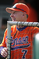 Head coach Jack Leggett (7) of the Clemson Tigers before a game against the University of Alabama-Birmingham on Feb. 17, 2012, at Doug Kingsmore Stadium in Clemson, South Carolina. UAB won 2-1. (Tom Priddy/Four Seam Images)