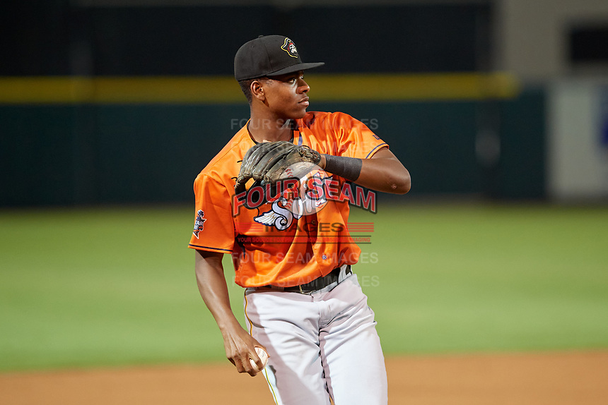 Bradenton Marauders third baseman Ke'Bryan Hayes (26) throws to first base during the Florida State League All-Star Game on June 17, 2017 at Joker Marchant Stadium in Lakeland, Florida.  FSL North All-Stars defeated the FSL South All-Stars  5-2.  (Mike Janes/Four Seam Images)