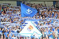 Fans des SV Darmstadt 98 stimmen sich auf das Spiel ein - SV Darmstadt 98 vs. SV Sandhausen, Stadion am Boellenfalltor