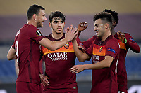 Edin Dzeko of AS Roma celebrate with Stephan El Shaarawy after scoring the goal of 1-0 during the Europa League round of 32 2nd leg football match between AS Roma and Braga at stadio Olimpico in Rome (Italy), February, 25th, 2021. Photo Andrea Staccioli / Insidefoto