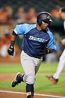Trenton Thunder second baseman Rey Navarro (22) runs to first base during the second game of a doubleheader against the Bowie Baysox on June 13, 2018 at Prince George's Stadium in Bowie, Maryland.  Bowie defeated Trenton 10-1.  (Mike Janes/Four Seam Images)