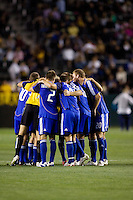 Kansas City Wizards starting XI huddle before the begining of the second half during the second half of a MLS match. The LA Galaxy defeated the Kansas City Wizards 3-1 at Home Depot Center stadium in Carson, Calif., on Saturday, May 24, 2008.
