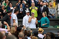 10th July 2021. Wilmbledon, SW London England. Wimbledon Tennis Championships 2021, Ladies singles final Ashleigh Barty versus Karolina Pliskova (Czech);  Ashleigh Barty ,Australia celebrates her win