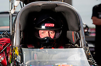Sep 1, 2019; Clermont, IN, USA; NHRA top fuel driver Luigi Novelli during qualifying for the US Nationals at Lucas Oil Raceway. Mandatory Credit: Mark J. Rebilas-USA TODAY Sports