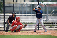 Atlanta Braves third baseman Jose Bautista (1) at bat, in front of umpire Tom Fornarola and catcher Rafael Marchan, during a Minor League Extended Spring Training game against the Philadelphia Phillies on April 20, 2018 at Carpenter Complex in Clearwater, Florida.  (Mike Janes/Four Seam Images)