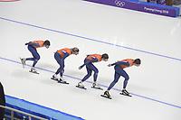 OLYMPIC GAMES: PYEONGCHANG: 17-02-2018, Gangneung Oval, Long Track, Training session, Patrick Roest (NED), Koen Verweij (NED), Jan Blokhuijsen (NED), Sven Kramer (NED), ©photo Martin de Jong
