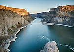 Idaho, south central, Twin Falls. A downstream view from the Shoshone falls area on the Snake River.