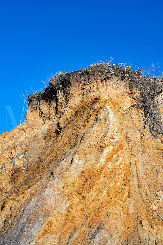 Coastal clay cliffs and rock formations, Lucy Vincent Beach, Martha's Vineyard, Massachusetts, USA