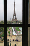 The Eiffel Tower from inside  Architectural Museum at the Palais de Chaillot and Jardin du Trocadero, Paris, France.