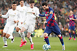 Real Madrid's Carlos Henrique Casemiro (l) and Fede Valverde (c) and FC Barcelona's Leo Messi during La Liga match. March 1,2020. (ALTERPHOTOS/Acero)
