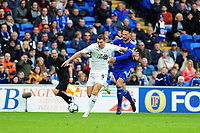 Sam Vokes of Burnley battles with Sean Morrison of Cardiff City during the Premier League match between Cardiff City and Burnley at Cardiff City Stadium in Cardiff, Wales, UK. Sunday 30 September 2018