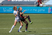 HERRIMAN, UT - JULY 1: Celeste Boureille #30 of Portland Thorns FC plays for the ball against Kayla Sharples #28 of Chicago Red Stars during a game between Chicago Red Stars and Portland Thorns FC at Zions Bank Stadium on July 1, 2020 in Herriman, Utah.
