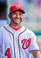 26 September 2018: Washington Nationals Manager Dave Martinez awaits the start of play in the dugout prior to a game against the Miami Marlins at Nationals Park in Washington, DC. The Nationals defeated the visiting Marlins 9-3, closing out Washington's 2018 home season. Mandatory Credit: Ed Wolfstein Photo *** RAW (NEF) Image File Available ***