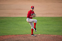 Orem Owlz relief pitcher Christian Aragon (19) delivers a pitch during a Pioneer League game against the Missoula Osprey at Ogren Park Allegiance Field on August 19, 2018 in Missoula, Montana. The Missoula Osprey defeated the Orem Owlz by a score of 8-0. (Zachary Lucy/Four Seam Images)