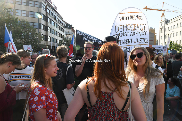 """120,000 Czechs gathered to call on Prime Minister Andrej Babiš to resign after the European Commission charged there was a conflict of interest between his public and private affairs in a massive demonstration in Wenceslas Square in Prague, Czech Republic on June 4, 2019. The """"million man demonstration"""" was the largest demonstration in the Czech Republic since the Velvet Revolution ushered in the fall of communism in 1989."""