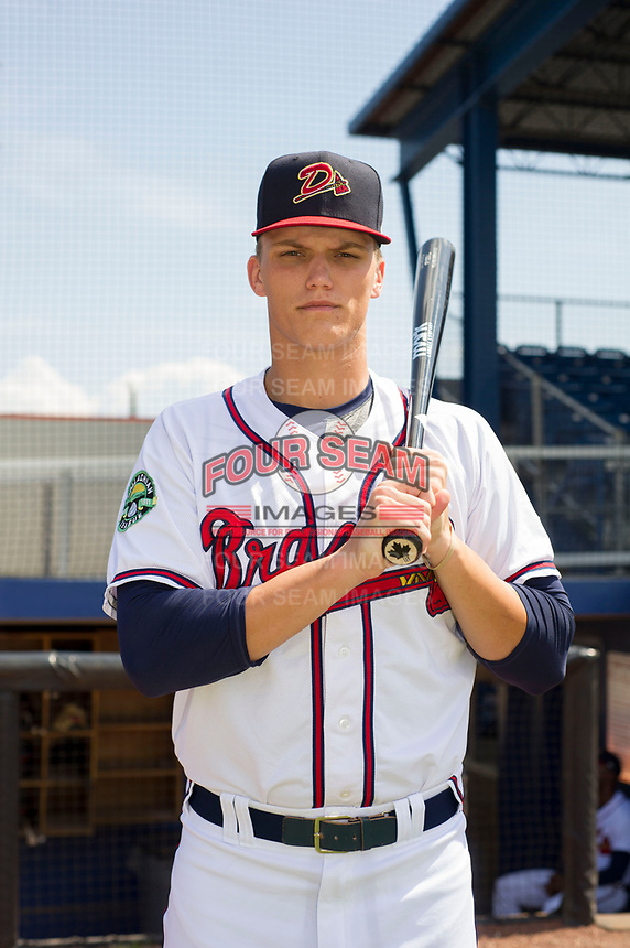 Bryce Ball (19) of the Danville Braves poses for a photo prior to a game against the Bluefield Blue Jays at American Legion Post 325 Field on July 28, 2019 in Danville, Virginia. The Blue Jays defeated the Braves 9-7. (Tracy Proffitt/Four Seam Images)