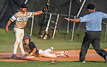 Riverside High grad Truman Roper (1), a King University commit, is safe at third as Easley third baseman Dawson Gilstrap (2) appeals to the umpire in a South Carolina American League game on Thursday, July 16, 2020, at Stevens Field in Greer, South Carolina. Greer won, 9-4. (Tom Priddy/Four Seam Images)