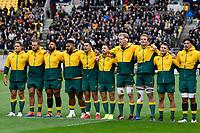 Australia Wallabies sing the national anthem before the Bledisloe Cup - New Zealand v Australia at Sky Stadium, Wellington, New Zealand on Sunday 11 October 2020. <br /> Photo by Masanori Udagawa. <br /> www.photowellington.photoshelter.com