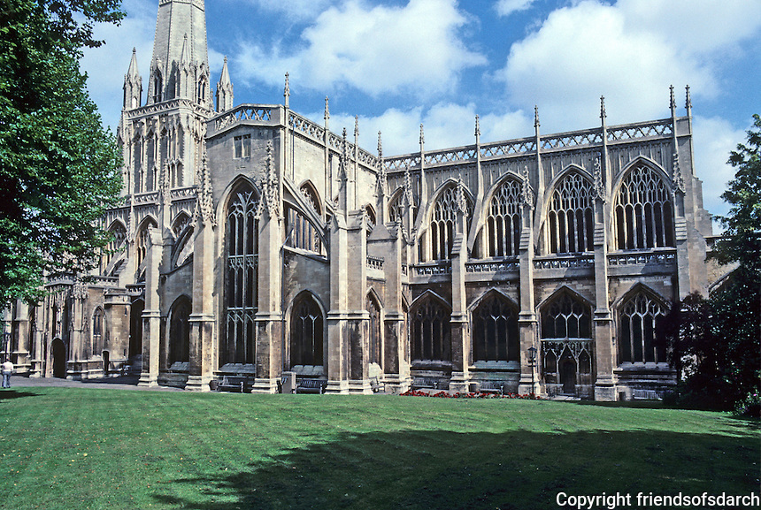 """Bristol: Church of St. Mary Redcliffe, elevation from southeast. Elizabeth I: """"The fairest, goodliest, and most famous parish church in England.""""  Photo '90."""