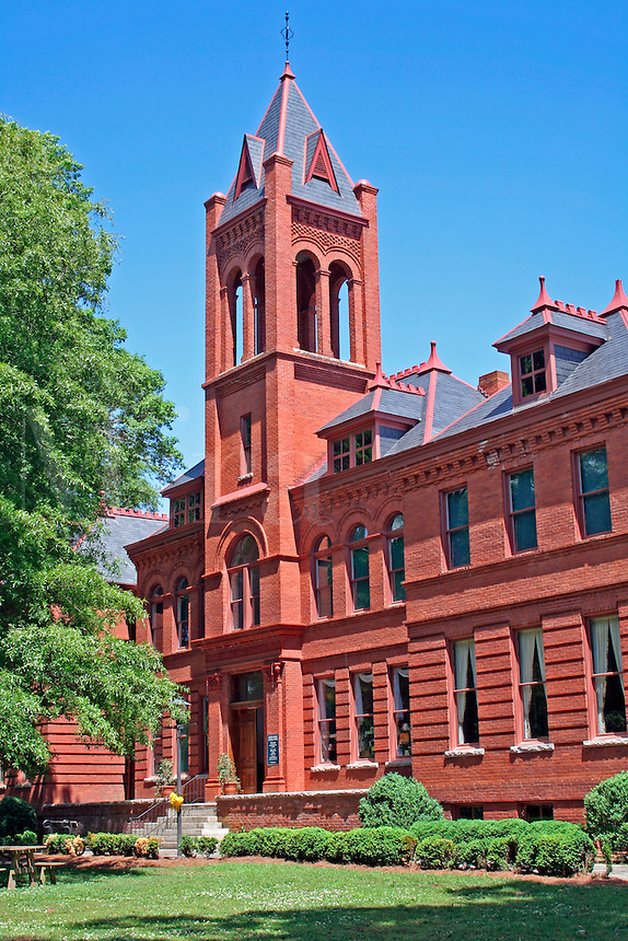 Historic red brick building Cultural Center in Madison Georgia