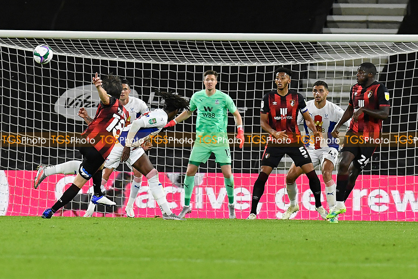 Harry Arter of Bournemouth left has a shot on goal during AFC Bournemouth vs Crystal Palace, Carabao Cup Football at the Vitality Stadium on 15th September 2020