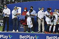 PALMIRA – COLOMBIA, 12-09-2021: Jugadoras del Cali reciben las medallas como campeonas después del partido entre Deportivo Cali e Independiente Santa Fe por la final, vuelta, como parte de la Liga Femenina BetPlay DIMAYOR 2021 jugado en el estadio Deportivo Cali - Myriam Guerrero de la ciudad de Palmira. / Players of Cali receive the medals as champions after a match between Deportivo Cali and Independiente Santa Fe for the final, second leg, as part Women's League BetPlay DIMAYOR 2021 played at Deportivo Cali - Myriam Guerrero stadium in Palmira city. Photo: VizzorImage / Gabriel Aponte / Staff