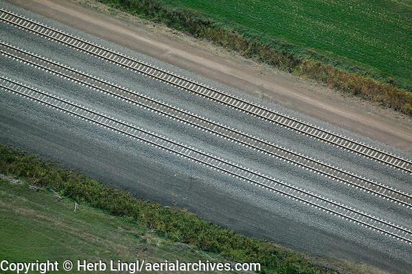 aerial photograph Union Pacific railway tracks, Nebraska