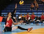 Toronto, Ontario, August 12, 2015. Canada's mens team plays Colombia  in the sitting volleyball during the 2015 Parapan Am Games . Photo Scott Grant/Canadian Paralympic Committee
