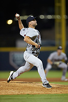 Scranton/Wilkes-Barre RailRiders relief pitcher Tyler Lyons (25) in action against the Gwinnett Stripers at Coolray Field on August 16, 2019 in Lawrenceville, Georgia. The Stripers defeated the RailRiders 5-2. (Brian Westerholt/Four Seam Images)