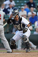 Empire State Yankees catcher Gustavo Molina #55 looks for a passed ball during a game against the Toledo Mudhens at Frontier Field on May 30, 2012 in Rochester, New York.  Empire State defeated Toledo 5-2.  (Mike Janes/Four Seam Images)