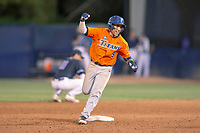 Cal State Fullerton Titans Hank LoForte (9) rounds second base after hitting a home run against the University of Washington Huskies at the top of the tenth inning at Goodwin Field on June 10, 2018 in Fullerton, California. The Huskies defeated the Titans 6-5. (Donn Parris/Four Seam Images)