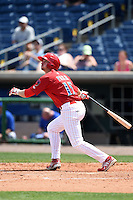 Clearwater Threshers outfielder Justin Parr (15) during a game against the Dunedin Blue Jays on April 6, 2014 at Bright House Field in Clearwater, Florida.  Dunedin defeated Clearwater 5-2.  (Mike Janes/Four Seam Images)